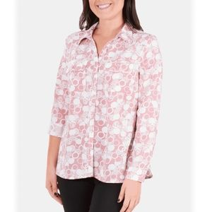 NY Collection Womens Roll-Tab Blouse